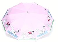 Женский автоматический зонт AVK 108-2 розовый антиветер