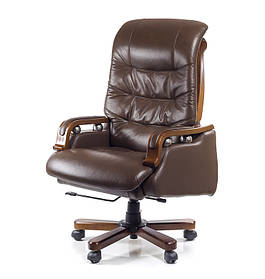 Кресло Сфинкс Wood комбинированная кожа люкс Коричневая (АКЛАС-ТМ)