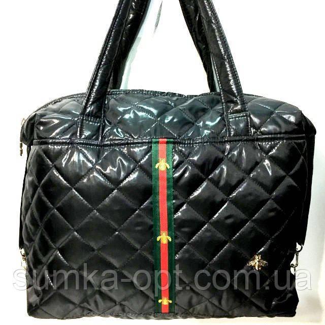 Стеганные женские сумки с полоской GUCCI (черный глянец)26*38см