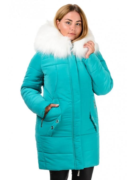 Шикарная женская бирюзовая куртка-парка