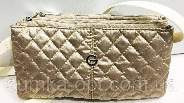 Стеганные женские клатчи-сумочки на 2 отдел. (золото)17*24см
