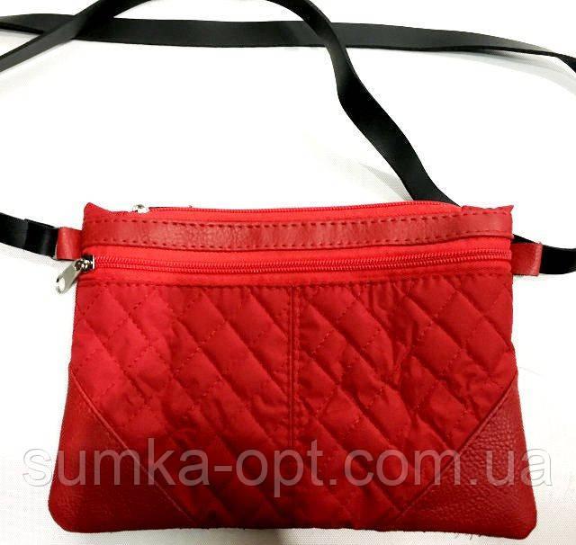 Стеганные женские клатчи-сумочки на 2 отдел. (красный)17*24см