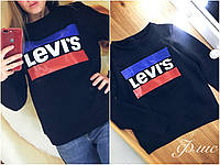 Женский свитшот Levis на флисе , разные цвета. Размеры: батал, норма