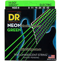 Струны DR NGE-9 Hi-Def Neon Green K3 Coated Light 9-42