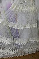 Тюль молочная вышивка на сетке, фото 1