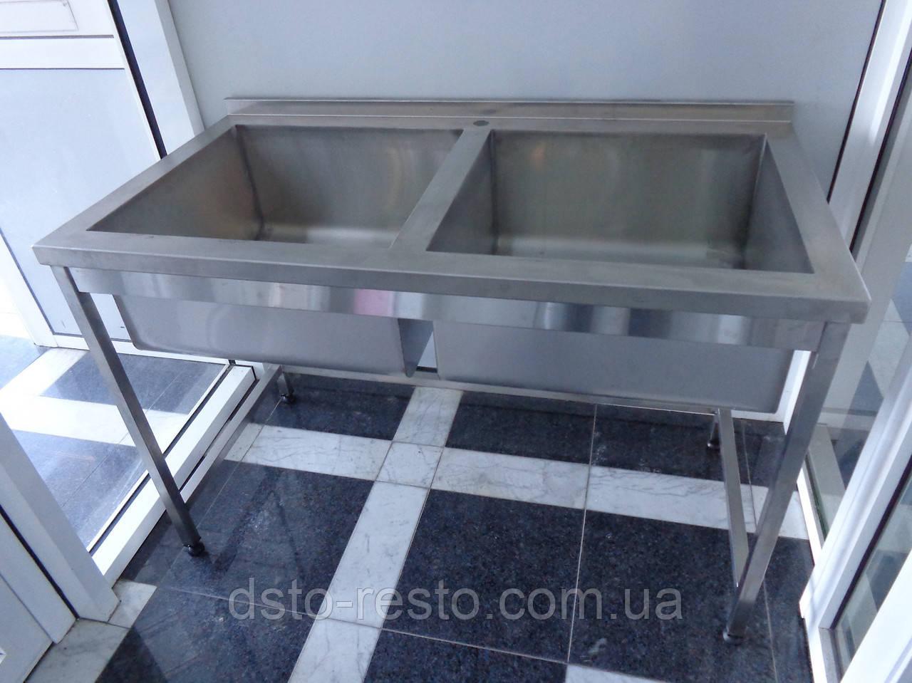 Ванна моечная 2-х секц. с бортом 1000/600/850 мм