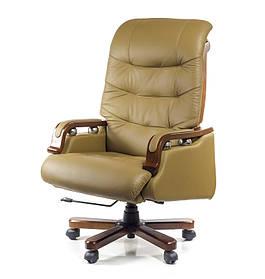 Кресло Сфинкс Wood комбинированная кожа люкс Бежевая (АКЛАС-ТМ)