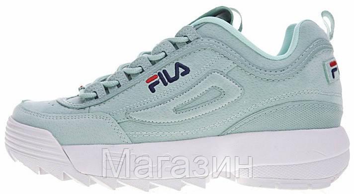 Женские кроссовки Fila Disruptor 2 Mint замшевые Фила Дисраптор 2 бирюзовые