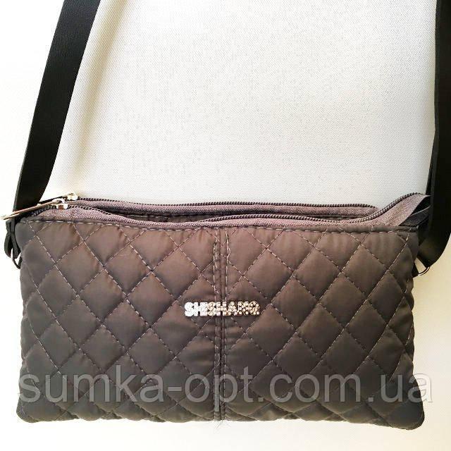Стьобані жіночі клатчі-сумочки на 2 відділ. (каштан)17*24см