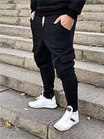Спортивные штаны Black D4749 черные теплые