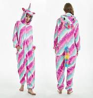 Пижама кигуруми женская и мужская Единорог розово-голубой 58e1ee803e9d1
