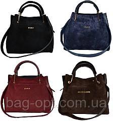 Женская черная сумка с клачем из натуральной замши Zara (24*27*15)