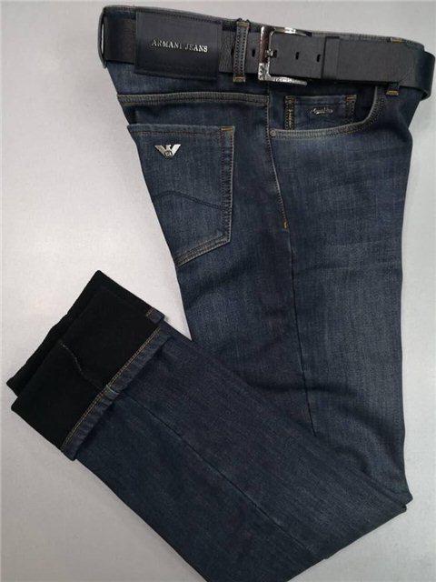 Мужские джинсы Armani Jeans D4710 темно-синие утеплённые - купить по ... b58495bfbf5