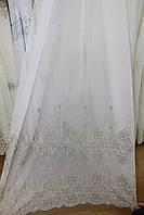 Тюль батист коричневая вышивка, фото 1