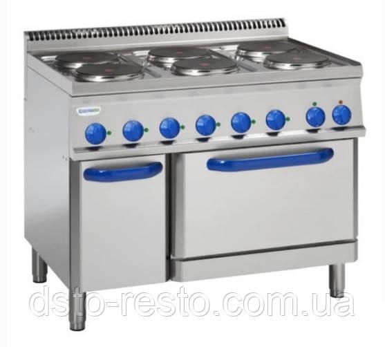 Плита промышленная электрическая 6-ти конфорочная с духовкой TECNOINOX PFR105E7