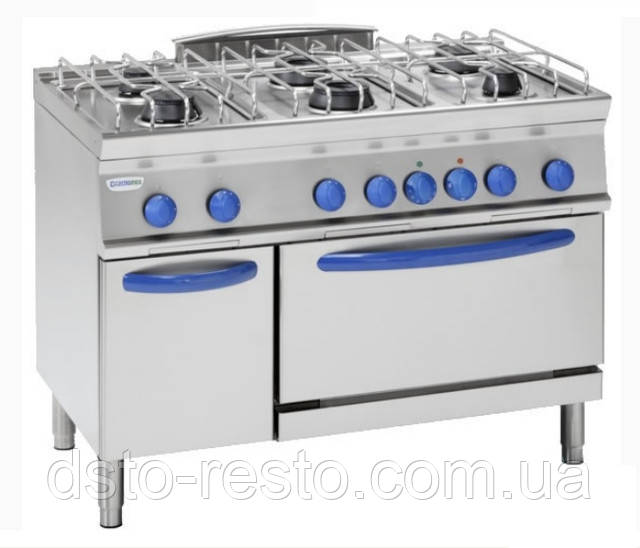 Плита промышленная газовая 4-х конф. с духовкой TECNOINOX EF105GG7