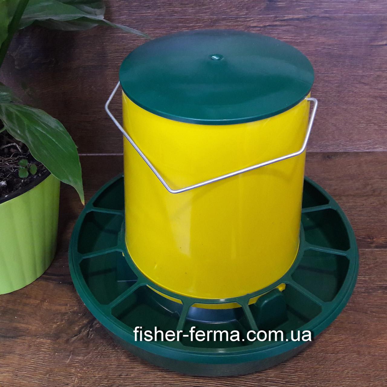 Кормушка желтая для домашней птицы объем 6 л