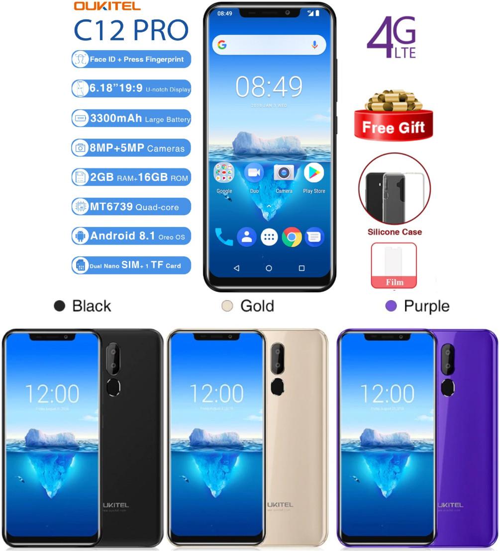 "Безрамочный телефон OUKITEL C12 Pro 2/16GB 4G / 6.18"" / MT6739 / 8Мп / 3300мАч+чехол"