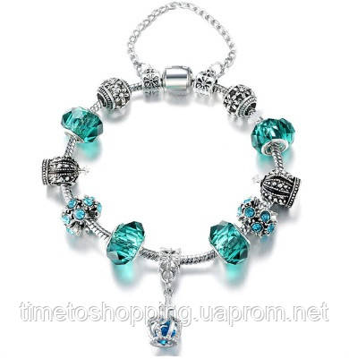Жіночий браслет з шармами в стилі Pandora. Пандора смарагдовий