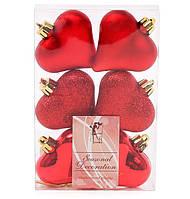 Набор елочных украшений Сердца 6см, цвет - красный, 6 шт: глянец, мат, глитер - по 2 шт