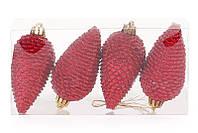 Набор елочных украшений Шишки, цвет - красный, 8см, 4 шт, мат с глитером