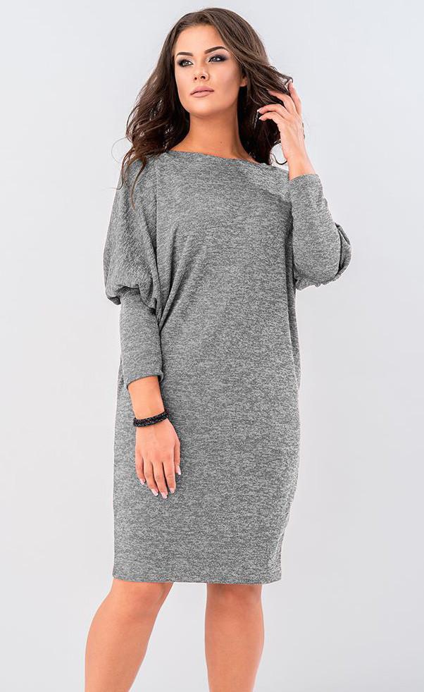 Женское трикотажное платье серого цвета с кружевом на спине. Модель 19529.  Размеры 46-56 88a0b2802d2