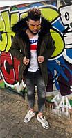 Куртка зимняя мужская Emporio Armani D4766 темно-зеленая