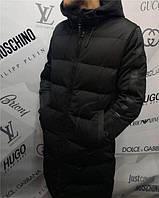 Куртка зимняя мужская Armani D4847 черная длинная