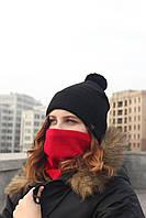 Набор зимняя шапка + бафф черная с красным