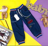 Утепленные джинсы на резинке на мальчика.80