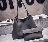 Женская сумка большая молодежная с кошельком шоппер Темно серый, фото 1