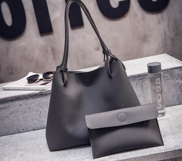 Женская сумка большая молодежная с кошельком шоппер Темно серый