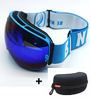Маска горнолыжная с прорезями Be Nice в комплекте с футляром  Голубая рамка