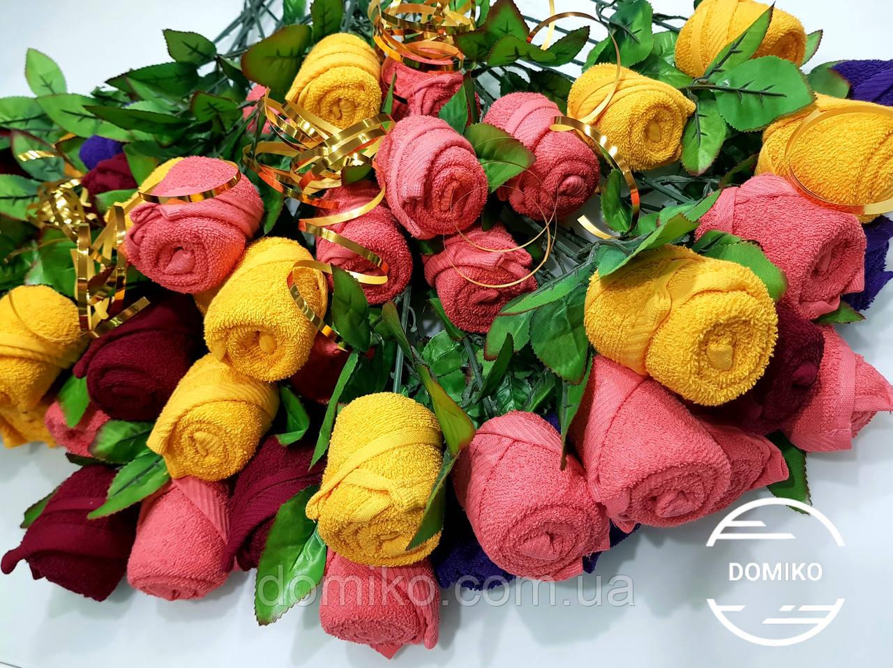 Розы из махровых салфеток кухонных