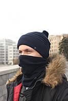 Набор зимняя шапка + бафф черная, фото 1