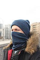 Набор зимняя шапка + бафф серые, фото 1