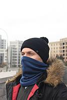 Набор зимняя шапка + бафф серый с черным, фото 1
