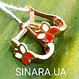 Золотые серьги для маленьких девочек - Детские золотые серьги с эмалью Бабочки, фото 3