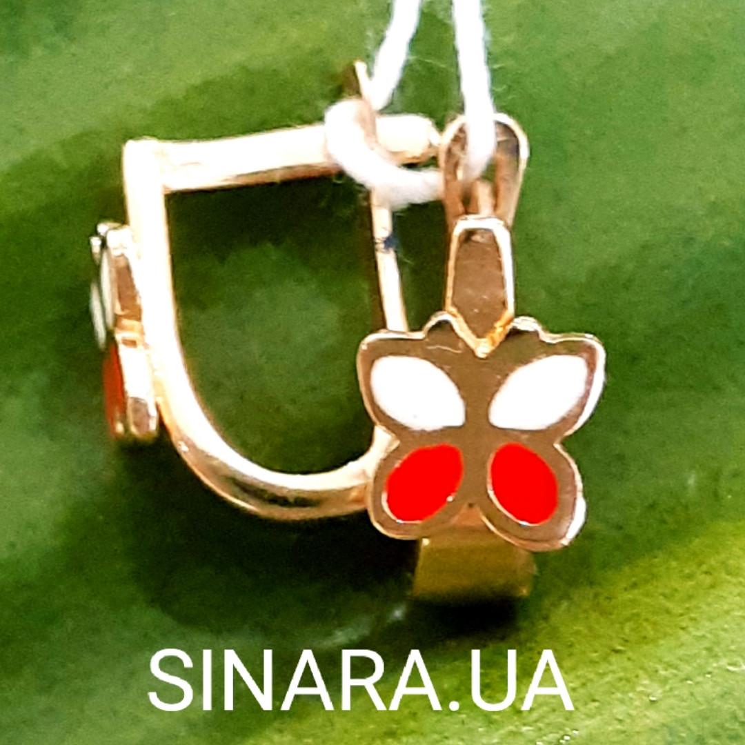 Золотые серьги для маленьких девочек - Детские золотые серьги с эмалью Бабочки