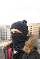 Набор зимняя шапка + бафф пепельный, фото 1