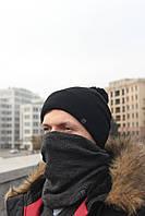 Набор зимняя шапка + бафф пепельный с черным, фото 1