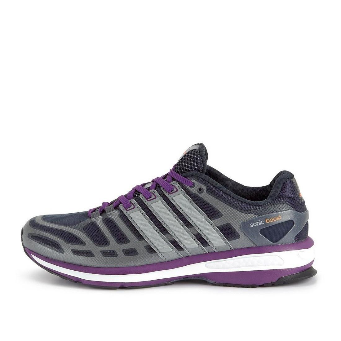 5842485b Кроссовки женские adidas Sonic Boost D67137 (темно серые с фиолетовым,  беговые, летние,
