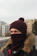 Набор зимняя шапка + бафф бордовый, фото 1