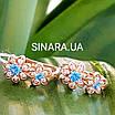 Дитячі золоті сережки для підлітка - Золоті сережки для дівчинки підлітка з блакитним каменем, фото 2