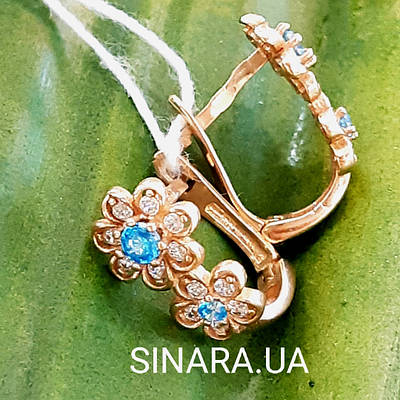 Дитячі золоті сережки для підлітка - Золоті сережки для дівчинки підлітка з блакитним каменем