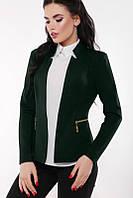 """Женскй красивый пиджак """"Jacqueline"""" темно-зеленый (42-48)"""