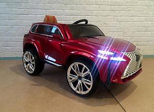 Детский электромобиль Джип Lexus, Автопокраска, Кожа, EVA резина, Амортизаторы, красный, дитячий електромобіль