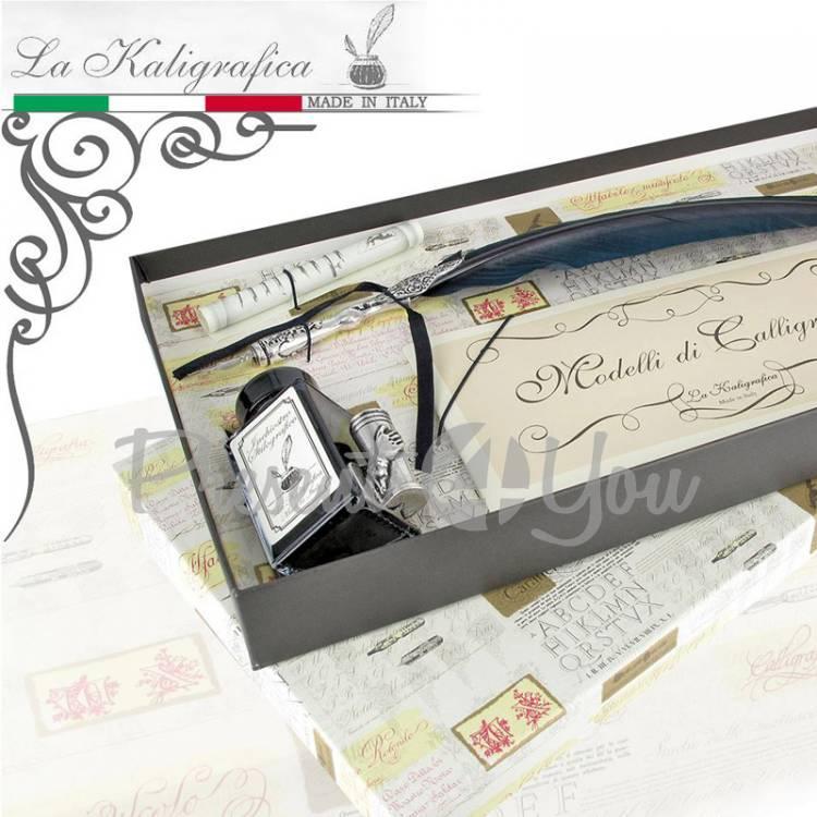 Письменный набор гусиное перо (черное), туш+3 пера Италия (031-7301)
