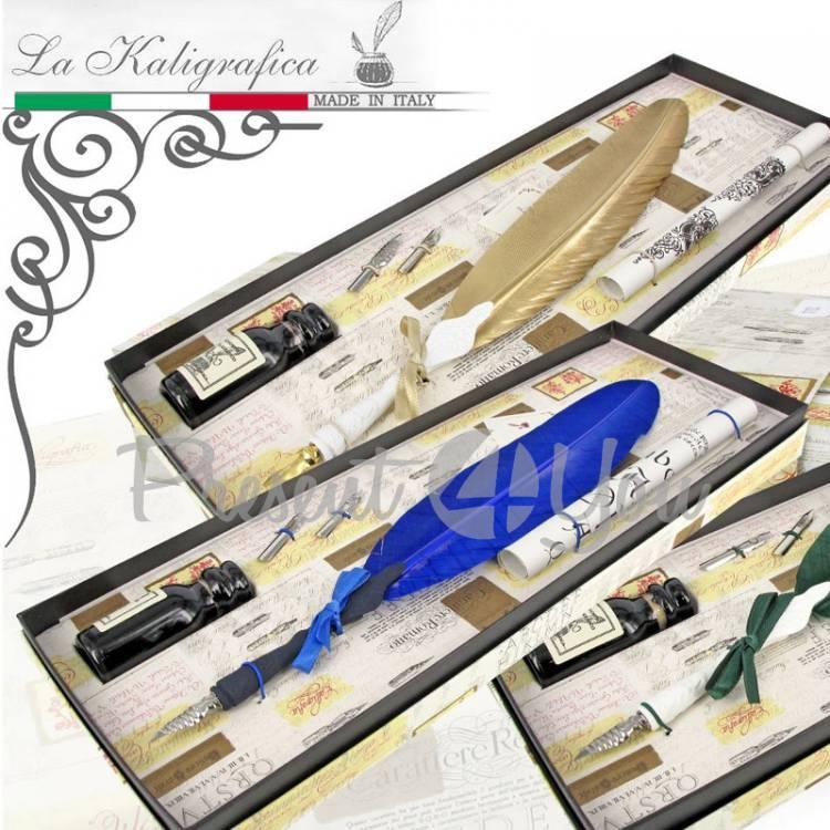 Письменный набор гусиное перо (cинее), туш+2 пера Италия (031-7210G)