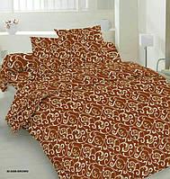 """Двоспальний постільний комплект  """"Бєжевий вензель на шоколаді """""""